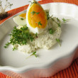 Egg on cream cheeses with cress — Stock Photo