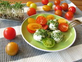 Cream cheese balls with cress and tomatoes — Stock Photo