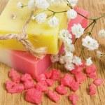 Natural handmade herbal soap and aromatic bath salt — Stock Photo #4496858