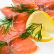 Slices smoked salmon — Stock Photo