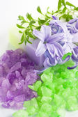 Aromatic bath salt and natural handmade soap — Stock Photo