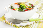 Soup with chicken meatballs and fresh vegetable — Stock Photo