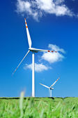 Summer view of two wind turbines — Stock Photo