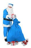 Santa claus im blauen kostüm — Stockfoto