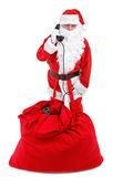 Santa claus krijgt een telefoontje — Stockfoto