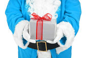 Blue santa holding present — Stock Photo