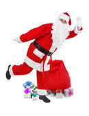 Funny pose of santa claus — Stock Photo