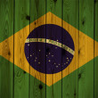 Wooden Brazil flag - Stock Photo