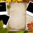 Papers and photos on a leaves background — Stock Photo