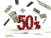 Red 50 percentage with money — Stock Photo