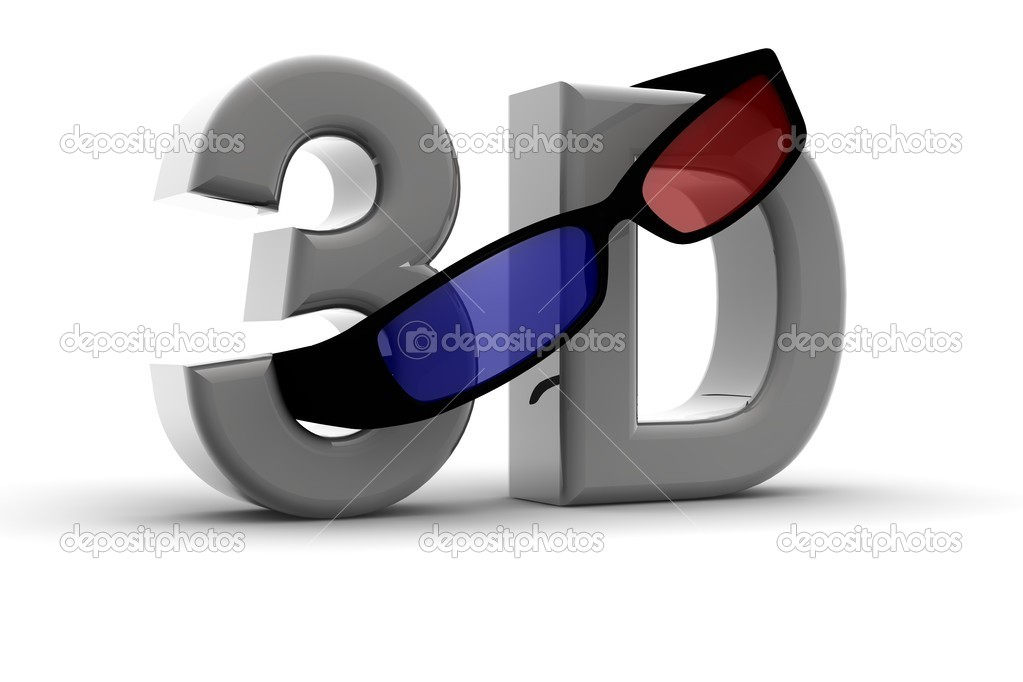 Glasses for 3D vision on a 3d text  Stock Photo #4404330