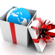 Open gift with earth — Stock Photo