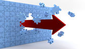 Wall of puzzle and a red arrow — Stock Photo