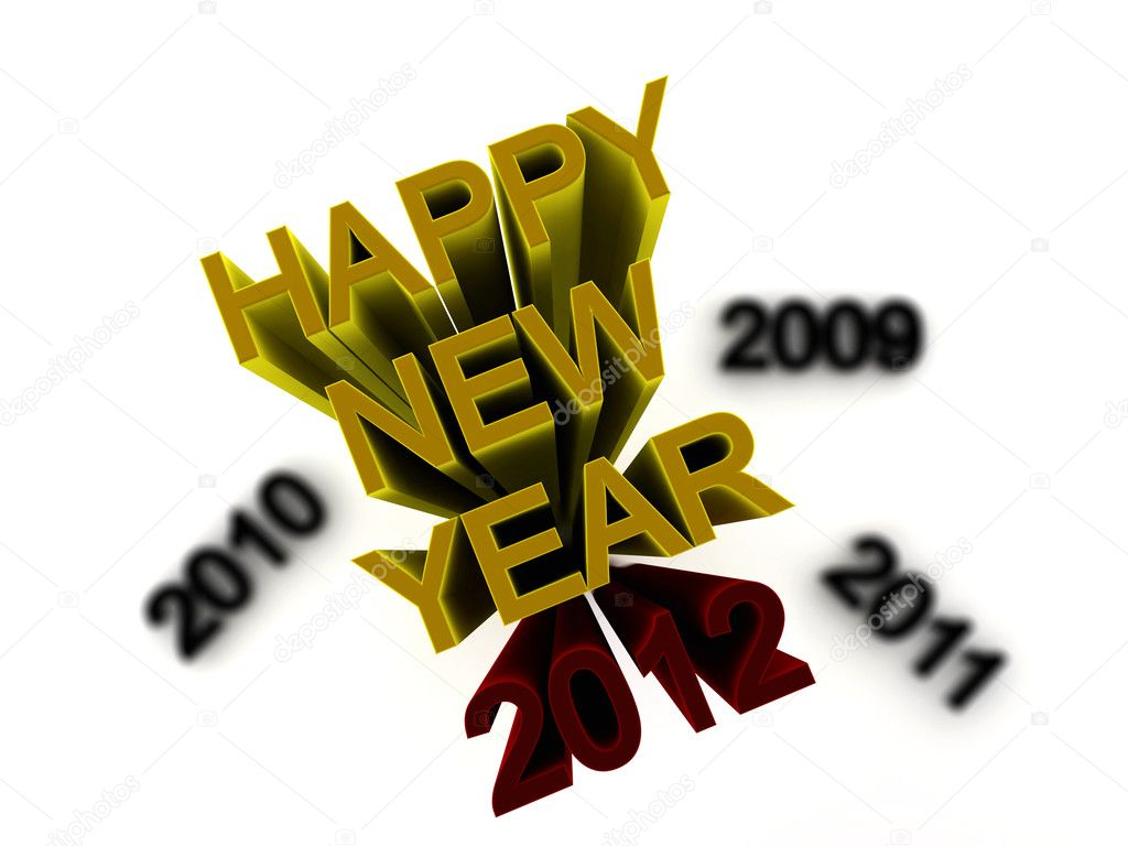 A 2012 red text with yellow happy new year — Stock Photo #4692794