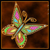 Butterfly pendant, gold — Stock Photo