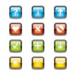 Navigation Square Button Icons - Stock Vector