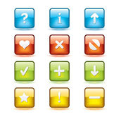 Navigation Square Button Icons — Stock Vector