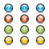 Cirkel knop ingesteld in verschillende kleuren — Stockvector