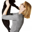 Stock Photo: WomHolding Cat