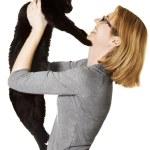 Woman Holding Cat — Stock Photo