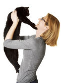 Woman Holding Cat — Stock Photo