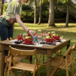 Woman Setting Table for Outdoor Dinner Party — Stock Photo
