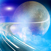 Route to the moon — Stock Photo