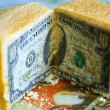Bread and dollars — Stock Photo
