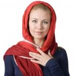 Religious girl in head scarf — Stock Photo