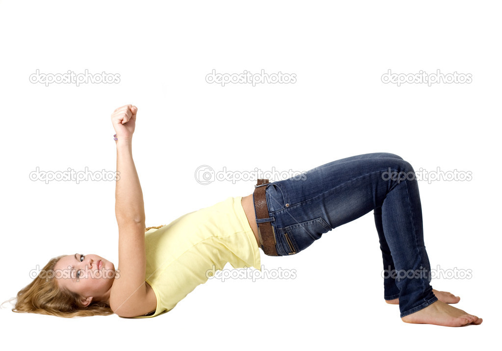Sportive girl doing exercises — Stock Photo #4294053