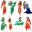 Girls belly dancing studio shot — Stock Photo