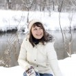 Happy girl having fun outdoor in winter — Stock Photo