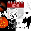 Halloween and icon calendar. vector. - Stock Vector