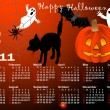 Halloween background calendar vector. — Vettoriali Stock