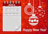 Icon calendar for year 2011. vector. — Stock Vector