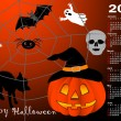 Stock Vector: Halloween background calendar vector.