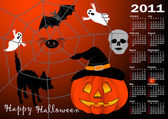 Halloween background calendar vector. — Stock Vector