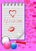 Notebook with love messages. vector eps10. — Cтоковый вектор