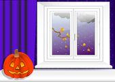 Interior with halloween pumpkin. vector 10eps. — Stock Vector