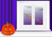 Interior com abóbora de halloween. vector 10eps. — Vetorial Stock