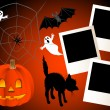 Halloween with photo frames. vector. — Stock Vector