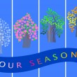 Four seasons banners.  trees. vector. — Stock Vector