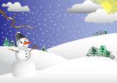 Happy Snowman. vector illustration. — Stock Vector