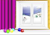 Interieur met venster. kerstballen. vector 10eps. — Stockvector