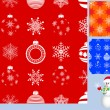 Set of seamless christmas pattern. vector. — Stock Vector