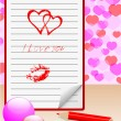 Notebook with love message. vector eps10. — Imagen vectorial