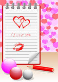 Notebook with love message. vector eps10. — Vettoriale Stock