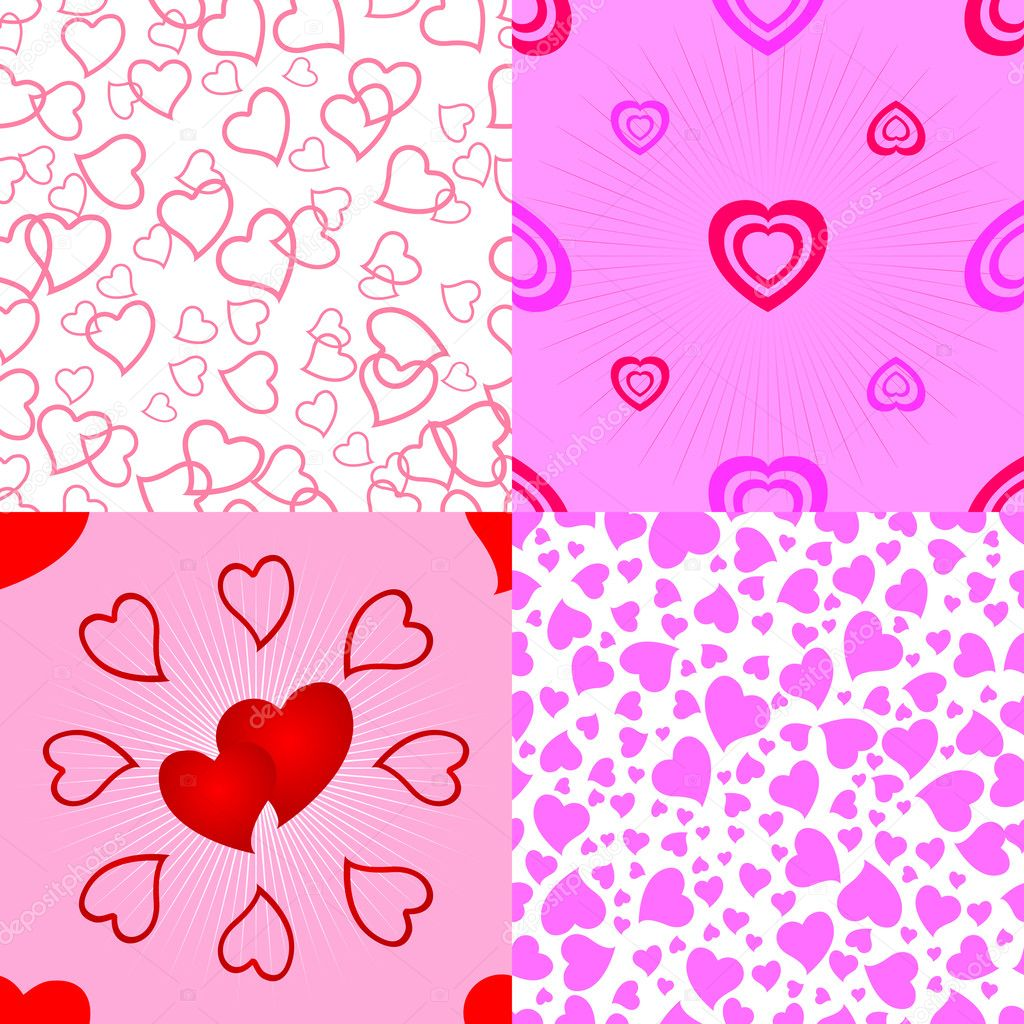 Seamless valentine pattern. Vector set. — Stock Vector #4598933