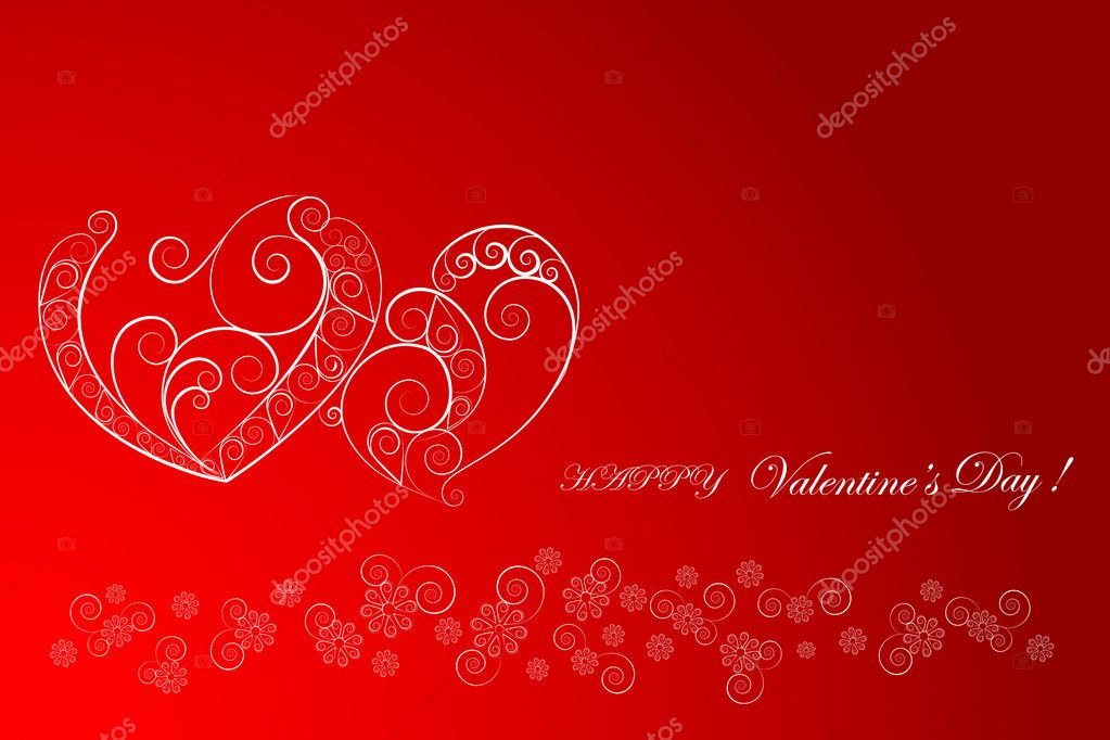 Hearts with curls and floral ornaments. vector. — Stock Vector #4605314