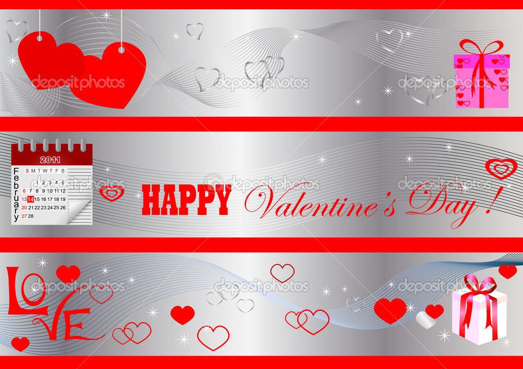 Set of   Valentine's Day banners. vector. — Stock Vector #4654011
